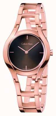 Calvin Klein Damenklasse Uhr Roségold braun dia plattiert K6R2362K