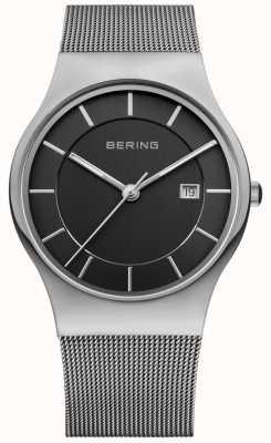 Bering Schwarzes Herren Zifferblatt Silberarmband Datumsfenster 11938-002