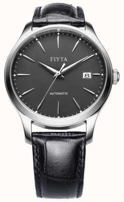 FIYTA Mens schwarzes Lederband Zifferblatt grau WGA1010.WHB