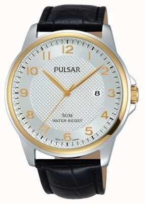 Pulsar Mens schwarzes Lederband weißes Zifferblatt PS9444X1