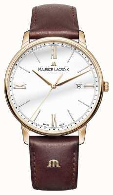 Maurice Lacroix Mens weißen runden Zifferblatt braunes Lederarmband EL1118-PVP01-112-1