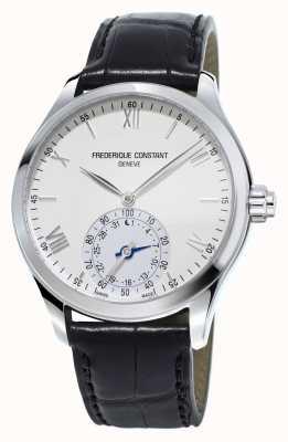 Frederique Constant Horological Smartwatch weißes Zifferblatt schwarz Lederband FC-285S5B6