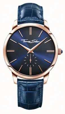 Thomas Sabo Mens blauen Lederband blaues Zifferblatt WA0212-270-209-42