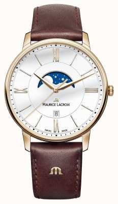 Maurice Lacroix Mens eliros Mondphasenuhr braunes Lederarmband EL1108-PVP01-112-1