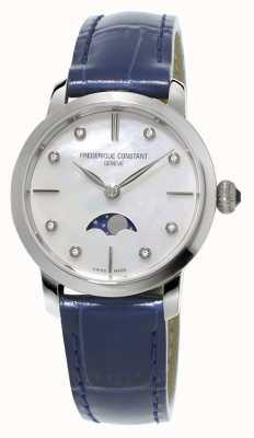 Frederique Constant Schlankes Mondphasen-Diamant-Set aus blauem Leder für Damen FC-206MPWD1S6