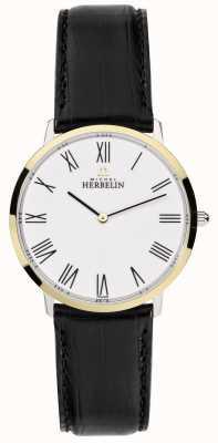 Michel Herbelin Mens ikone schwarzes Lederband weißes Zifferblatt 17415/T01
