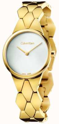 Calvin Klein Damen Schlange Gold pvd Armband silbernes Zifferblatt K6E23546