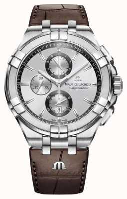Maurice Lacroix Mens aikon Chronograph braunes Lederarmband silbernes Zifferblatt AI1018-SS001-130-1