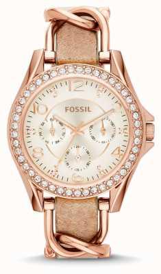 Fossil Womans weiß Chronograph Zifferblatt braunes Lederarmband ES3466