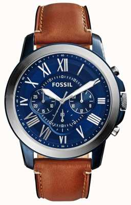 Fossil Mens blau Chronograph Zifferblatt braunes Lederarmband FS5151