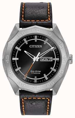 Citizen Mens Titangehäuse schwarzes Lederband Zifferblatt schwarz AW0060-03E