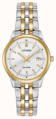 Citizen Damen Edelstahl & Gold IP Silber Zifferblatt Uhr EW2404-57A
