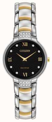 Citizen Damen 24 Diamanten zwei Ton Armband schwarzes Zifferblatt EX1464-54E