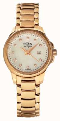 Rotary Womans Roségold vergoldet Band Perlmutt-Zifferblatt LB90120/41