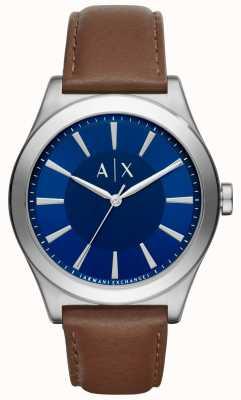 Armani Exchange Mens braunes Lederarmband blaues Zifferblatt Edelstahlgehäuse AX2324