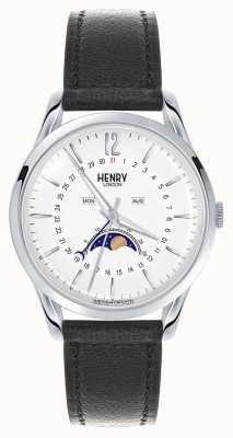 Henry London Edgware Edelstahlgehäuse schwarzes Lederarmband HL39-LS-0083
