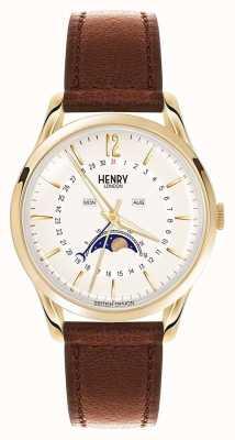 Henry London Westminster Gold Gehäuse braunes Lederband HL39-LS-0148