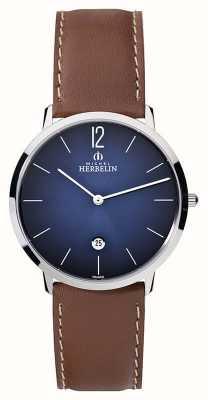 Michel Herbelin Herren-Ikone grande braunes Lederarmband blaues Zifferblatt 19515/15