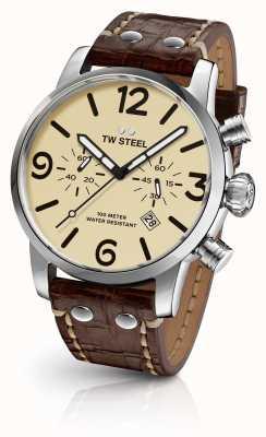 TW Steel Mens Einzelgänger Chronograph braunes Lederarmband Creme Wahl MS23