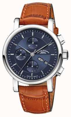 Muhle Glashutte Teutonia ii Großdatum Chronometer Lederband Nacht blaues Zifferblatt M1-33-76-LB