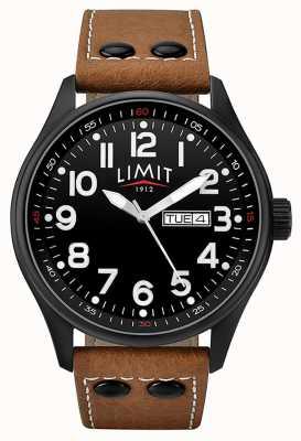 Limit Herren braunes Lederband schwarzes Zifferblatt 5492.01