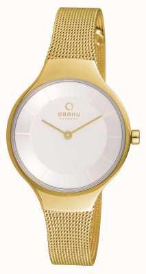 Obaku Womans Gold Gold Maschenband weißes Zifferblatt V166LXGIMG