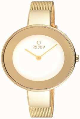 Obaku Womans Gold Gold Maschenband weißes Zifferblatt V167LXGIMG