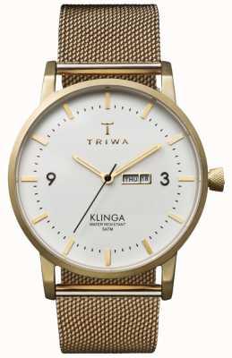Triwa Unisex Elfenbein Klinga Gold Mesh Metallband KLST103-ME021313