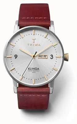 Triwa Unisex glänzen Klinga tan Lederband Silber Zifferblatt KLST104-CL010312