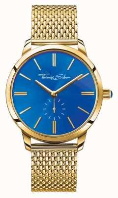 Thomas Sabo Womans glam Geist Edelstahl Gold Maschenband blaues Zifferblatt WA0274-264-209-33