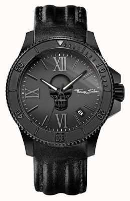 Thomas Sabo Herren Rebell Ikone schwarzes Lederband schwarzer Stahlkoffer WA0278-213-203-44