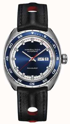 Hamilton Mens pan europ schwarzes Lederband blaues Zifferblatt H35405741