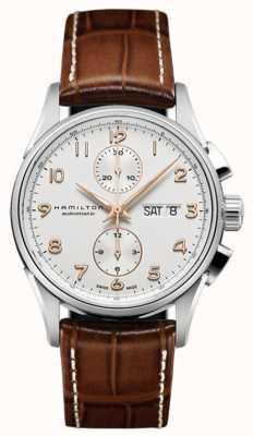 Hamilton Mens Jazzmaster Maestro weiß Chronograph Zifferblatt Lederarmband H32576515
