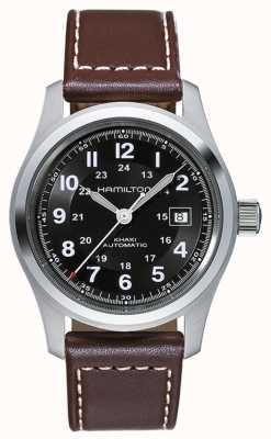 Hamilton Herren khaki Feld Auto 42mm schwarzes Zifferblatt braunes Lederarmband H70555533