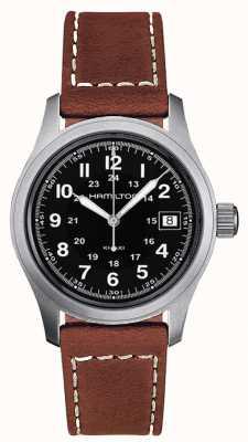 Hamilton Herren khaki Feld Quarz braunem Armband schwarzes Zifferblatt 38mm H68411533