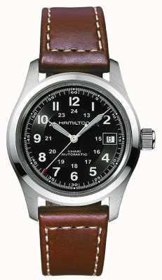 Hamilton Herren Khaki Field Auto schwarzes Zifferblatt braunes Armband H70455533