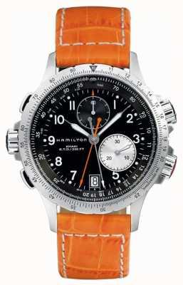 Hamilton Herren khaki ETO Flyback Orange Lederarmband H77612933