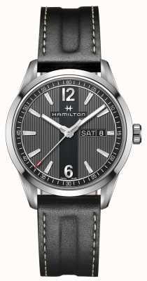 Hamilton Mens broadway Tag Datum schwarzes Lederband Zifferblatt schwarz H43311735
