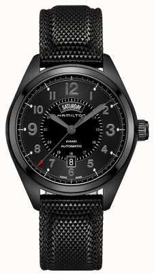 Hamilton Herren Khaki Field Daydate automatische schwarze Zifferblatt aus schwarzem Material H70695735