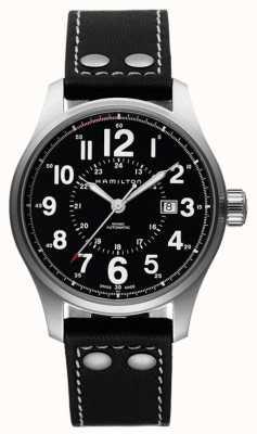 Hamilton Herren Khaki Officer automatische schwarze Lederarmband schwarz Zifferblatt H70615733