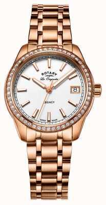 Rotary Womens Legacy Rose Gold Edelstahl plattiert LB90176/01