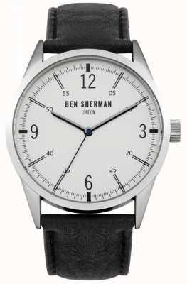 Ben Sherman Mens schwarzes Lederband weißes Zifferblatt WB051B