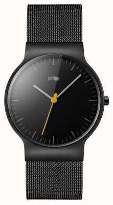 Braun Mens schwarzes Mesh-Armband schwarzes Zifferblatt BN0211BKMHG