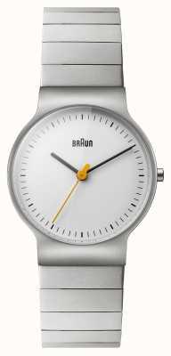 Braun Damen-Edelstahl-Armband weißes Zifferblatt BN0211SLBTL
