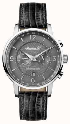 Ingersoll Herren 1892 das Grafton schwarzes Lederband graues Zifferblatt I00601