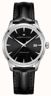 Hamilton Mens Jazzmaster schwarzes Lederband Zifferblatt schwarz H32451731