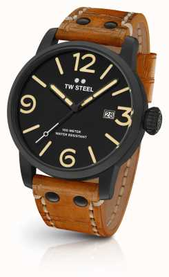TW Steel Mens Maverick schwarz Sandwich Wahl tan Lederband 45mm MS31