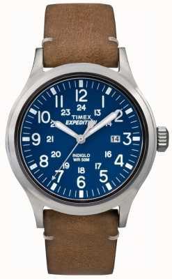 Timex Mens Scout blaues Zifferblatt braunes Lederarmband TW4B01800