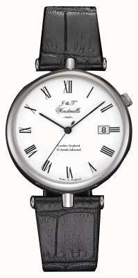 J&T Windmills Herren threadneedle mechanische Uhr schwarze Riemen WGS10004/01