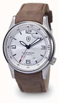 Elliot Brown Mens Tyneham braunem Leder Silber dial Boden 305-D03-L12
